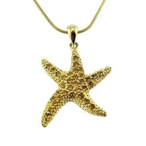 Gold and Rhinestone Starfish Necklace